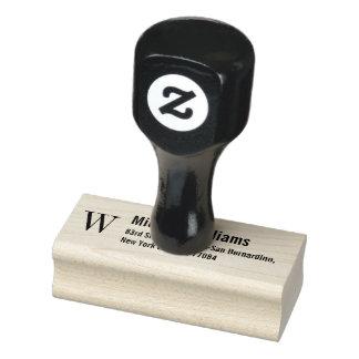 Create Custom Monogram Modern Name Return Address Rubber Stamp