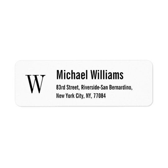 Create Custom Monogram Modern Return Address Label