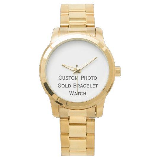 Create Custom Photo Stylish Gold Bracelet Watch