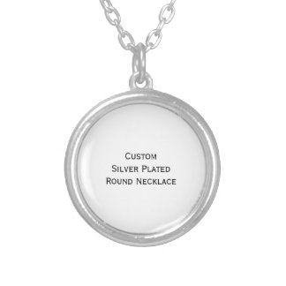 Create Custom Silver Plated Round Photo Necklace