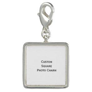 Create Custom Silver Plated Square Photo Charm