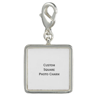 Create Custom Silver Plated Square Photo Charm