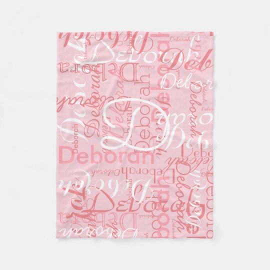 create feminine name typography pink fleece blanket