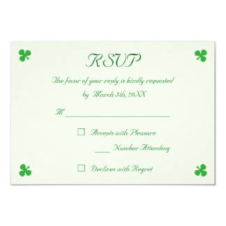 Create Irish Green Wedding RSVP Invitation Card