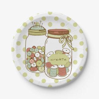 Create mason jar and polka dots paper plates