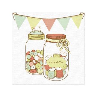 Create mason jar with banner canvas gallery wrap canvas