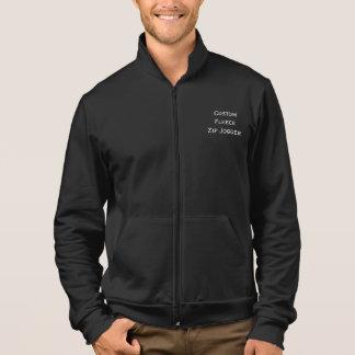 Create Mens Custom Fleece Zip Jogger Jacket Black
