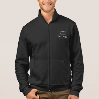 Create Mens Custom Fleece Zip Jogger Jacket Black