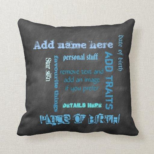Create own chalkboard word cloud cushion, blue/blk pillows
