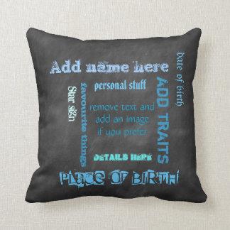 Create own chalkboard word cloud cushion, blue/blk throw cushions