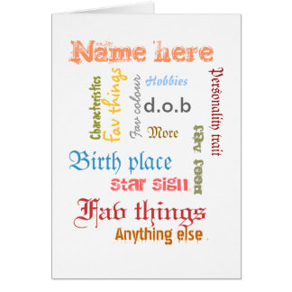 Create own personal word cloud card with template