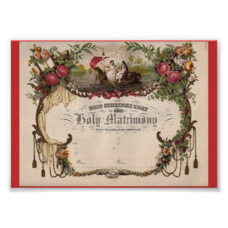 Create own Vintage Art Marriage Certificate! Poster