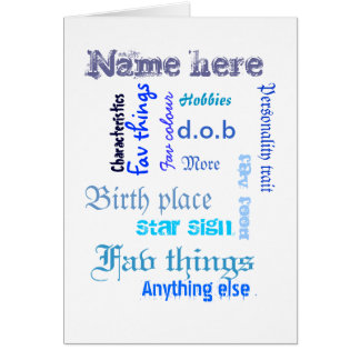 Create own word cloud card with template - BLUES