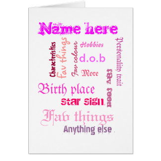 Create own word cloud card with template - PINKS Greeting Card