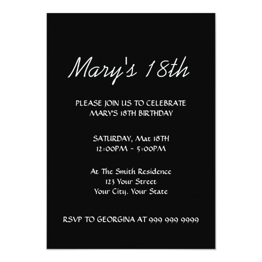 Create Your Black 18th Birthday Invitation