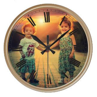 Create Your Custom Photo Brown Classy Elegant Large Clock