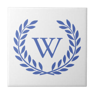 Create Your Decorative Wreath Monogram Small Square Tile