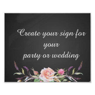 create your floral chalkboard  party sign poster