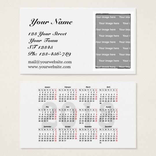 Create your own 2018 calendar Business Card