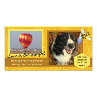 Create Your Own 2 Photo Bee Honeycomb Love Theme Customised Photo Card