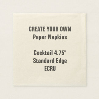 """Create Your Own 4.75"""" ECRU Cocktail Paper Napkins"""