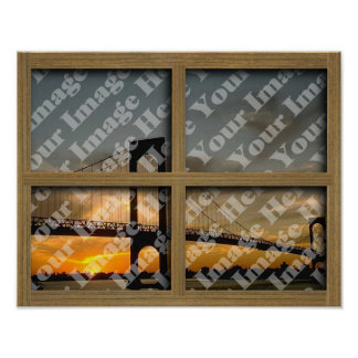 Create Your Own 4 Pane Brown Wood Window Frame Poster