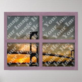 Create Your Own 4 Pane Pink Wood Window Frame Print
