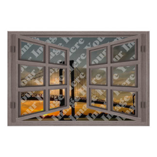 Create Your Own 6 Pane Bleached Wood Open Window Poster