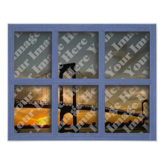 Create Your Own 6 Pane Blue Wood Window Frame Poster