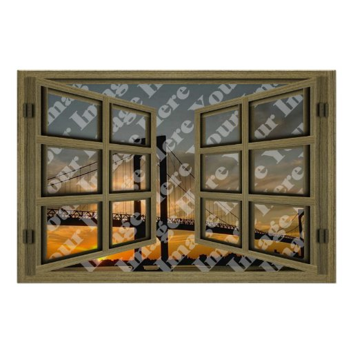 Create Your Own 6 Pane Brown Wooden Open Window Posters