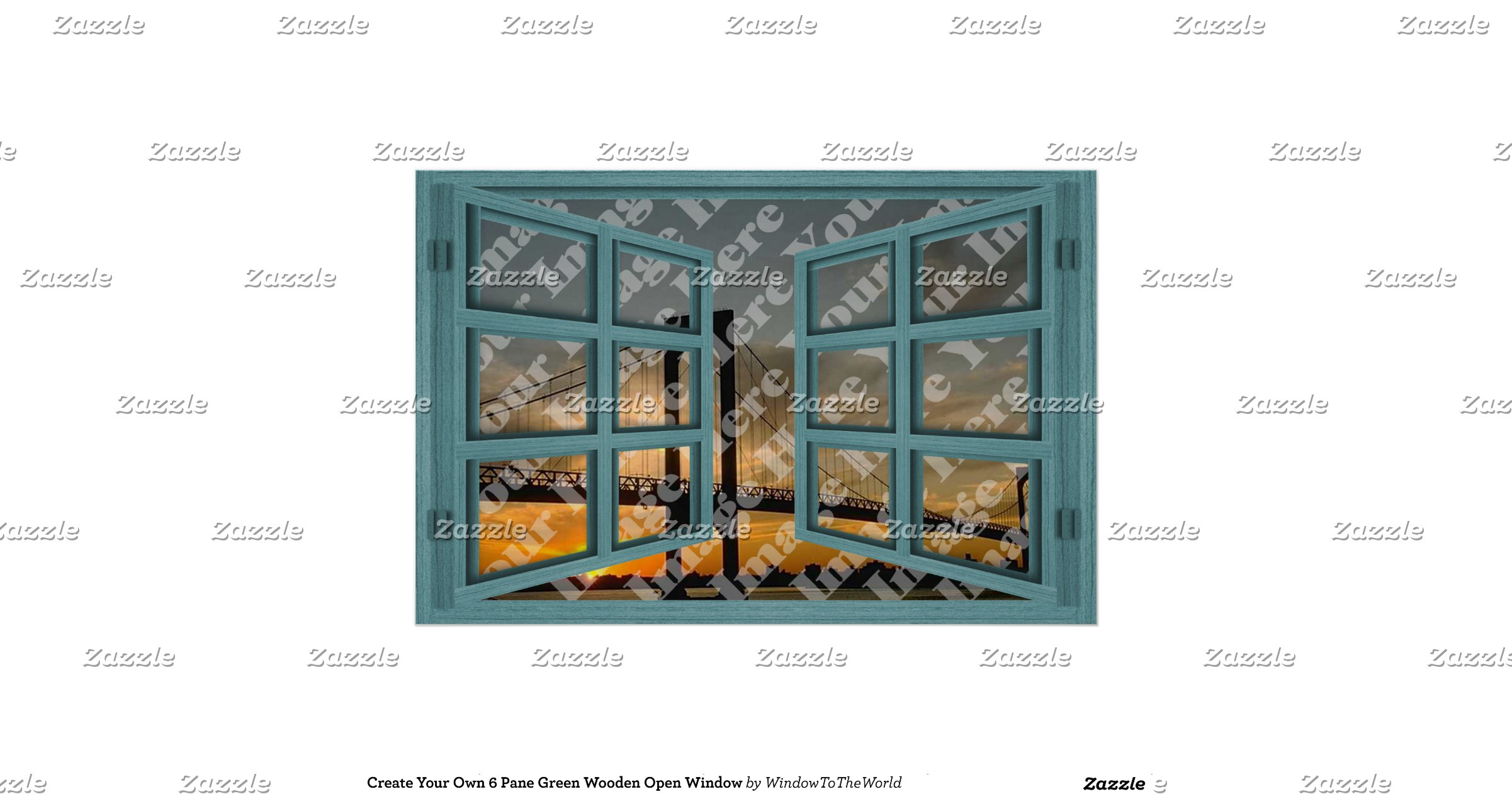 Create your own 6 pane green wooden open window poster for Build your own window