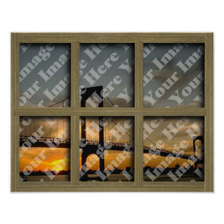 Create Your Own 6 Pane Light Brown Window Frame Poster