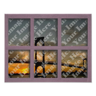 Create Your Own 6 Pane Pink Wood Window Frame Poster