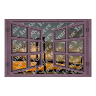 Create Your Own 6 Pane Pink Wooden Open Window Poster