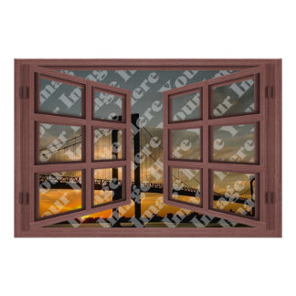 Create Your Own 6 Pane Red Wooden Open Window Poster