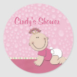 Create your own baby shower round stickers