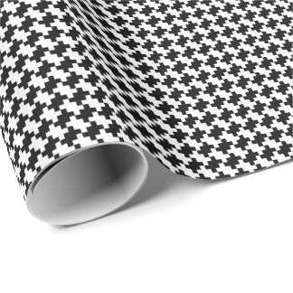 Create Your Own Black Houndstooth Squares Pattern Wrapping Paper