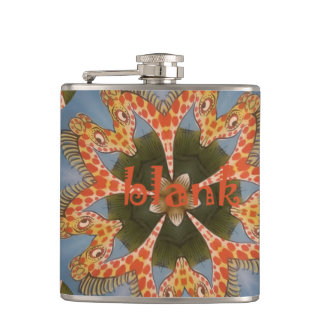 Create Your Own Blank cute pretty Giraffes Flasks