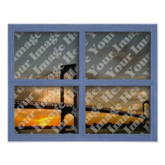 Create Your Own Blue 4 Pane Wooden Window Poster