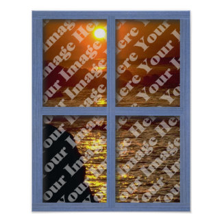Create Your Own Blue Wooden Window Poster