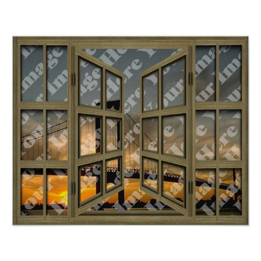 Create Your Own Brown 24 Pane Open Window Poster