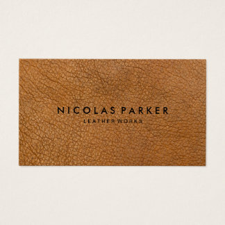 Create Your Own Brown Leather Business Card