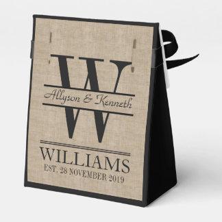Create Your Own Burlap Logo Anniversary Monogram Party Favour Box