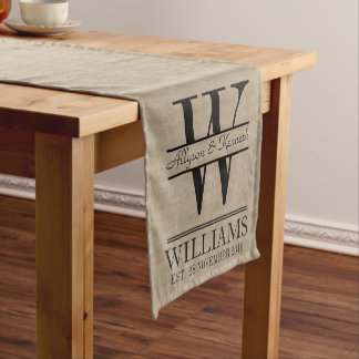 Create Your Own Burlap Logo Anniversary Monogram Short Table Runner