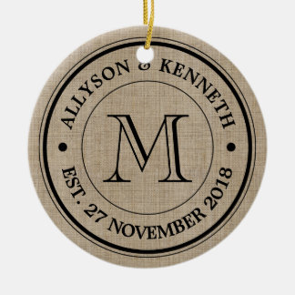 Create Your Own Burlap Retro Logo Monogram Christmas Ornament