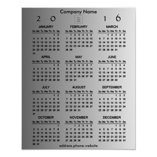 Create Your Own Business Promo 2016 Calendar Poster