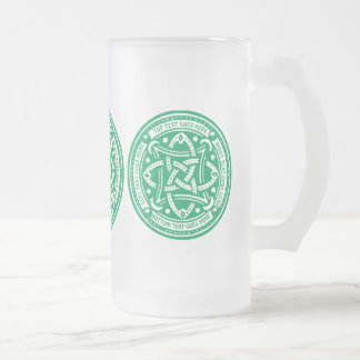 Create Your Own Celtic Knot Shamrock Green Irish Frosted Glass Beer Mug