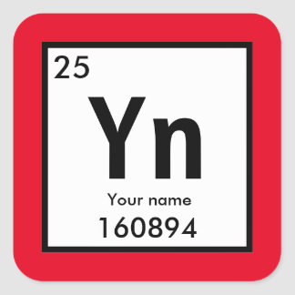 Create your own chemical element square sticker