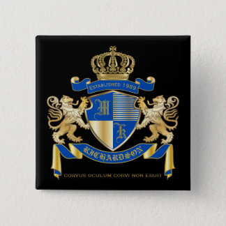 Create Your Own Coat of Arms Blue Gold Lion Emblem 15 Cm Square Badge