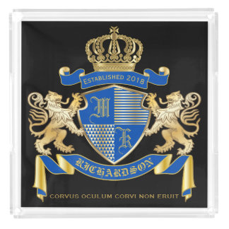Create Your Own Coat of Arms Blue Gold Lion Emblem Acrylic Tray